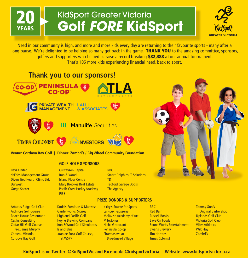 The Golf Fore KidSport event was a huge success! Ad features event sponsor logos and three smiling kids wearing sports uniforms.
